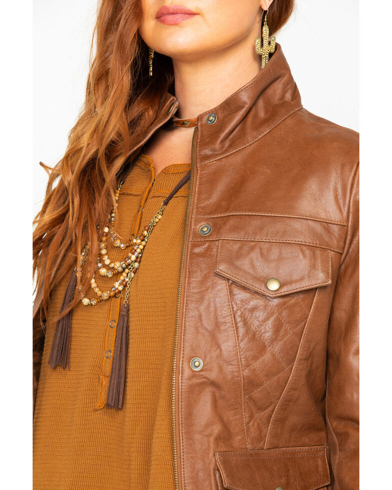 Outback Trading Co. Women's Poly Leather Arya Jacket , Brown, hi-res