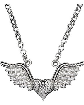 Montana Silversmiths Women's Winged Heart Necklace, Silver, hi-res