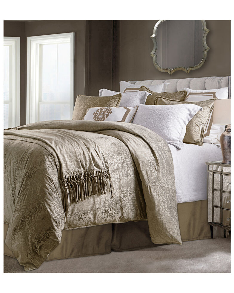 HiEnd Accents Diane Embossed Super Queen Velvet Comforter Set, Tan, hi-res