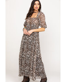 Flying Tomato Women's Leopard Chiffon Maxi Dress, Leopard, hi-res