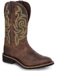 Justin Men's Teague Western Work Boots, Brown, hi-res