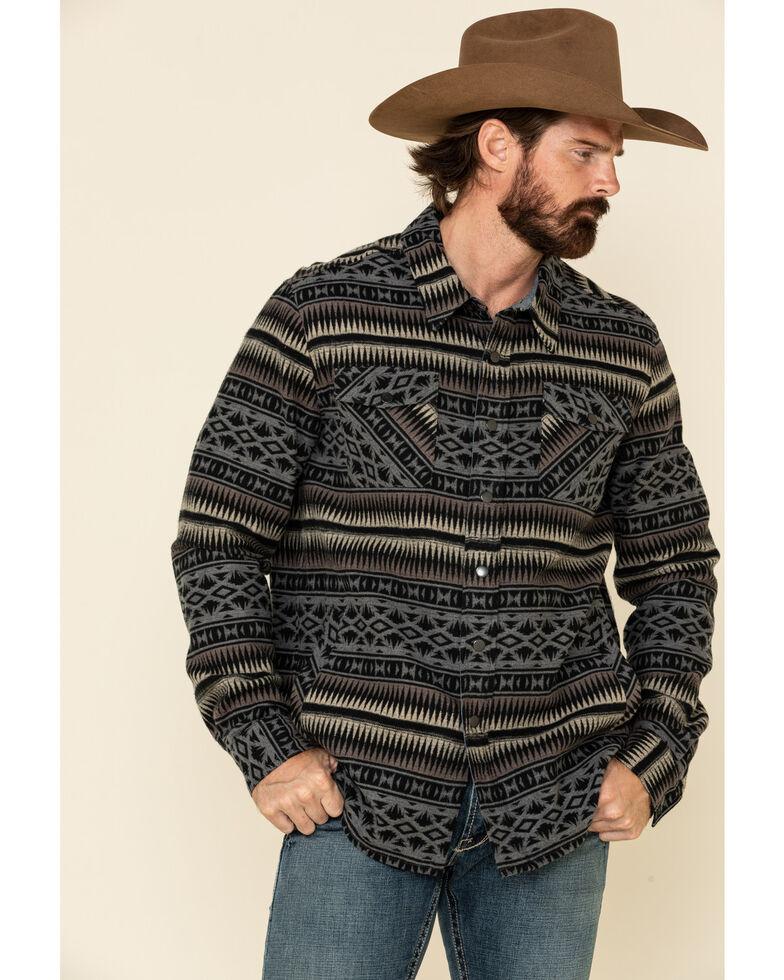 Rock & Roll Denim Men's Grey Aztec Print Shirt Jacket , Grey, hi-res