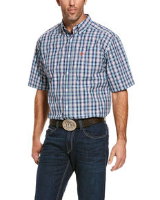 Ariat Men's Romy Med Plaid Short Sleeve Western Shirt , Blue, hi-res