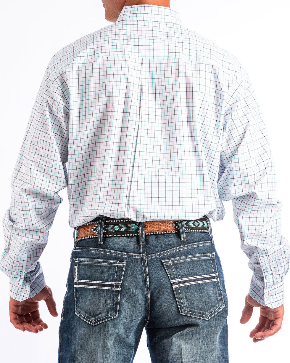 Cinch Men's Turquoise & Navy Tattersall Plaid Long Sleeve Western Shirt, White, hi-res