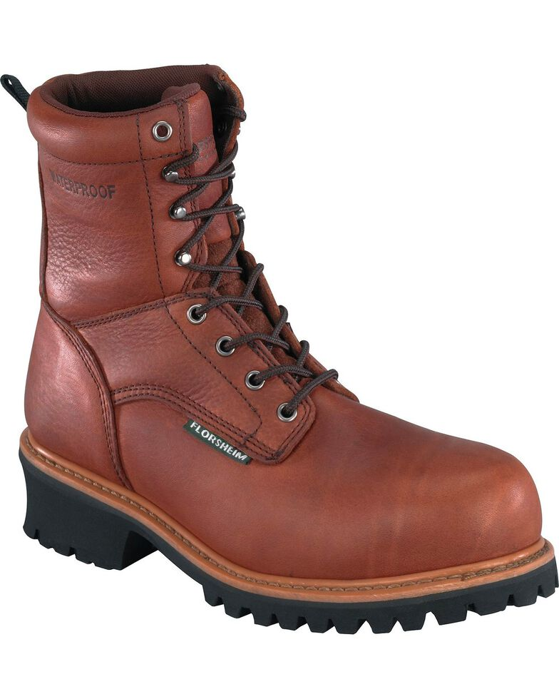 "Florsheim Men's Lumberjack 9"" Waterproof Logger Boots - Composite Toe , Brown, hi-res"