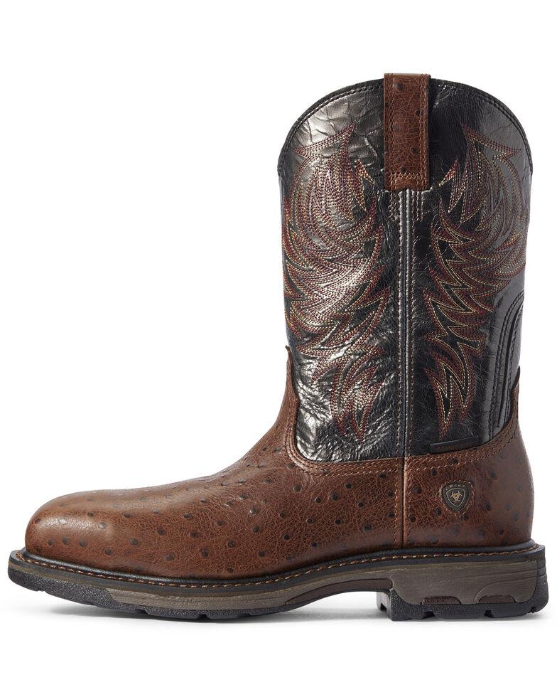 Ariat Men's Workhog Ostrich Print Western Work Boots - Composite Toe, Brown, hi-res