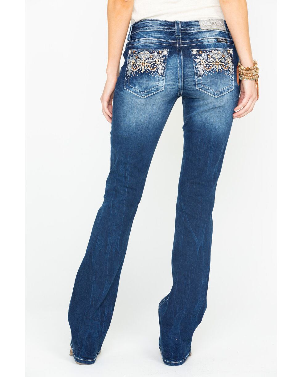 Miss Me Women's Floral Harmony Embroidered Boot Cut Jeans , , hi-res