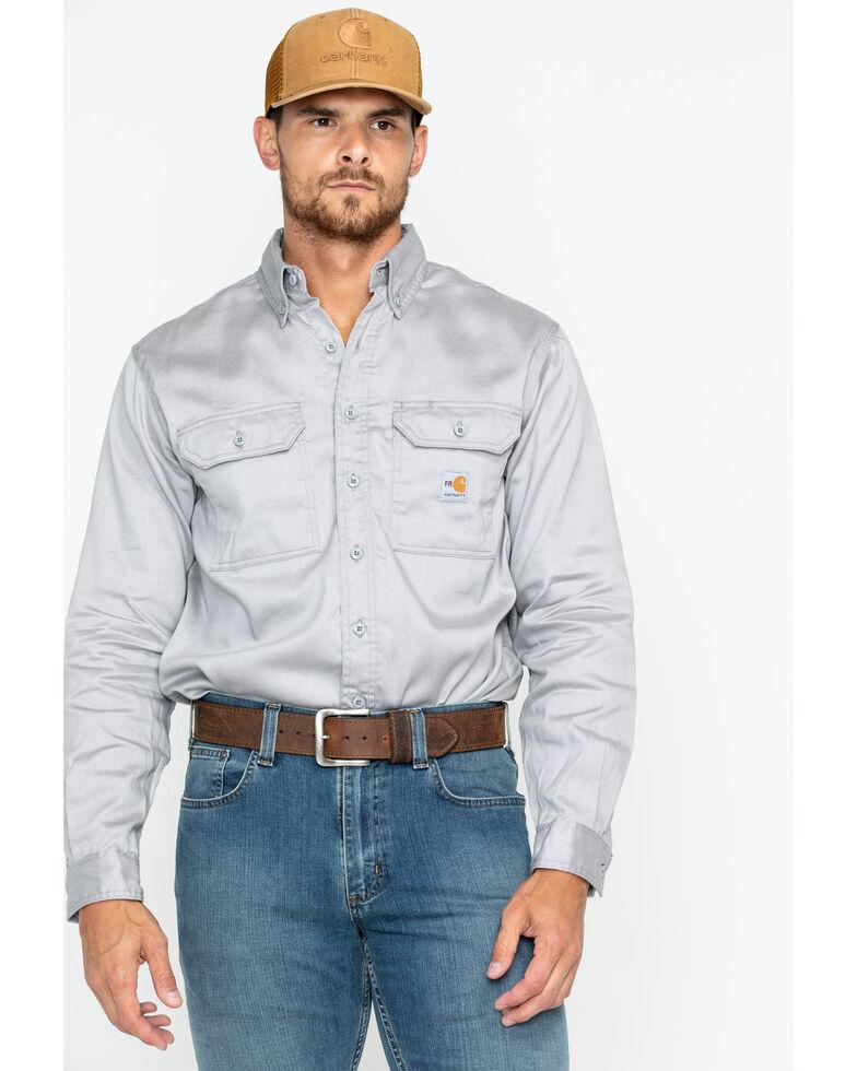 Carhartt Men's Flame Resistant Solid Twill Long Sleeve Work Shirt, Grey, hi-res