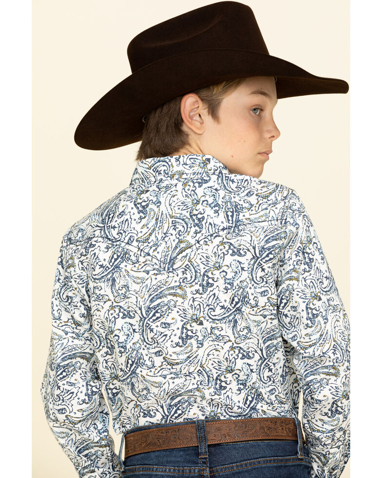 Cody James Boys' Jumpin Claims Paisley Print Long Sleeve Western Shirt , Blue, hi-res