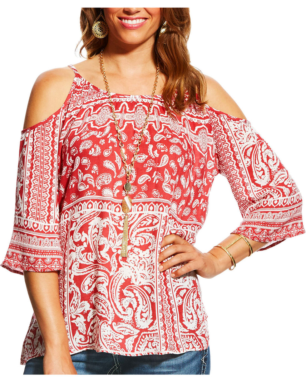 Ariat Women's Theresa Snow White Paisley Cold Shoulder Top, Dark Pink, hi-res