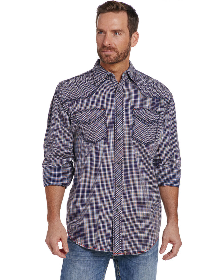 Cowboy Up Men's Blue Heavy Stitched Plaid Shirt , Blue, hi-res