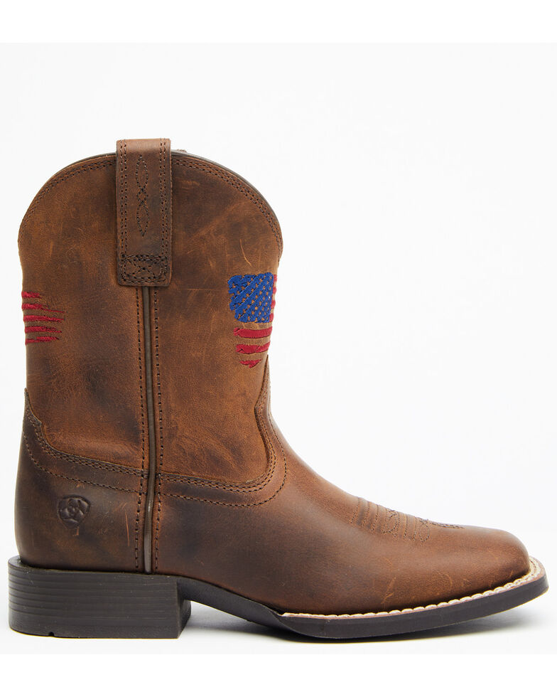 Ariat Boys' American Pride Western Boots - Square Toe, Brown, hi-res