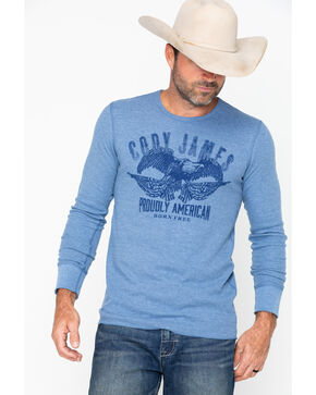 Cody James Men's Blue Eagle Long Sleeve Thermal Shirt, Blue, hi-res