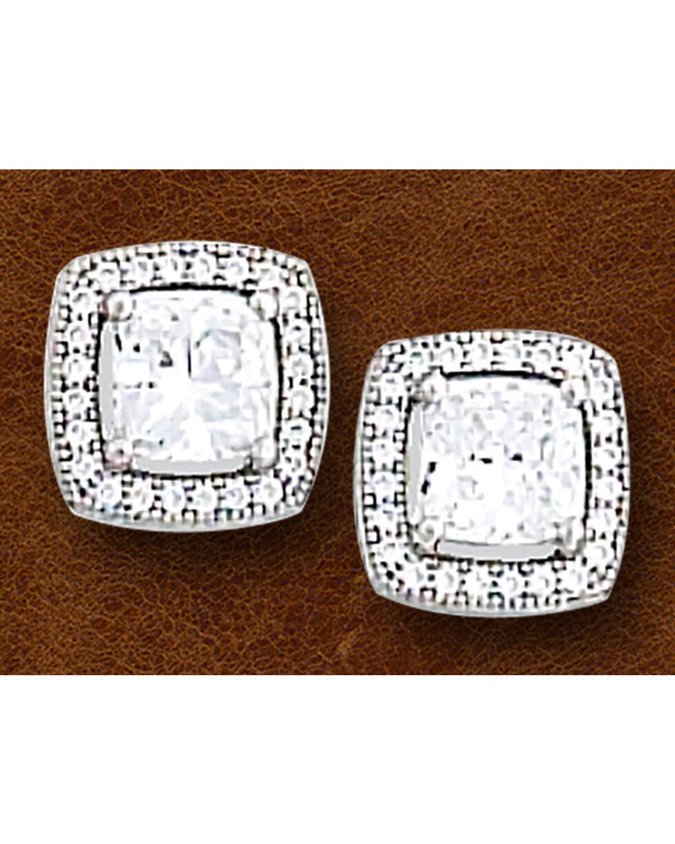 Kelly Herd Women's Sterling Silver Square Bezel Set Pave Earrings, Silver, hi-res