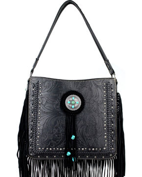 Montana West Trinity Ranch Collection Tooled Fringe Shoulder Bag, Black, hi-res