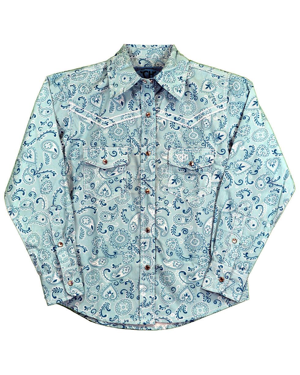 Cowgirl Hardware Girls' Retro Bandana Long Sleeve Western Shirt, Turquoise, hi-res