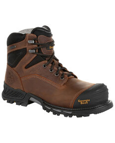 Georgia Men's Rumbler Waterproof Work Boots - Composite Toe, Brown, hi-res