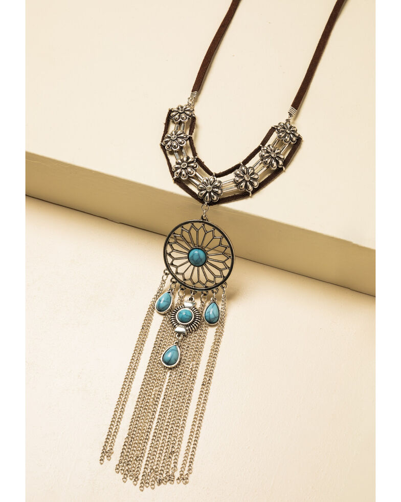 Shyanne Women's Summer Nights Dream Catcher Bib Necklace, Silver, hi-res