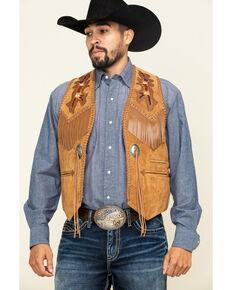 Scully Men's Leather Fringe Vest, Tan, hi-res