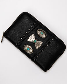 Shyanne Women's Black Concho Wallet, Black, hi-res