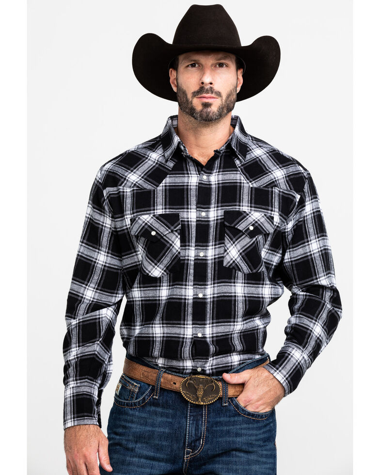 Ely Cattleman Men's Black Large Plaid Long Sleeve Western Flannel Shirt , , hi-res