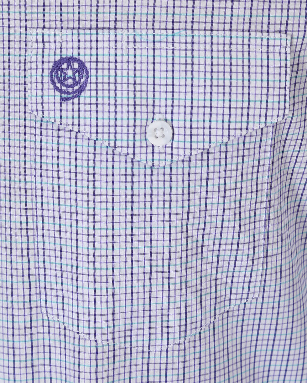 Wrangler George Strait Men's Purple Plaid Long Sleeve Button Down Shirt, Purple, hi-res