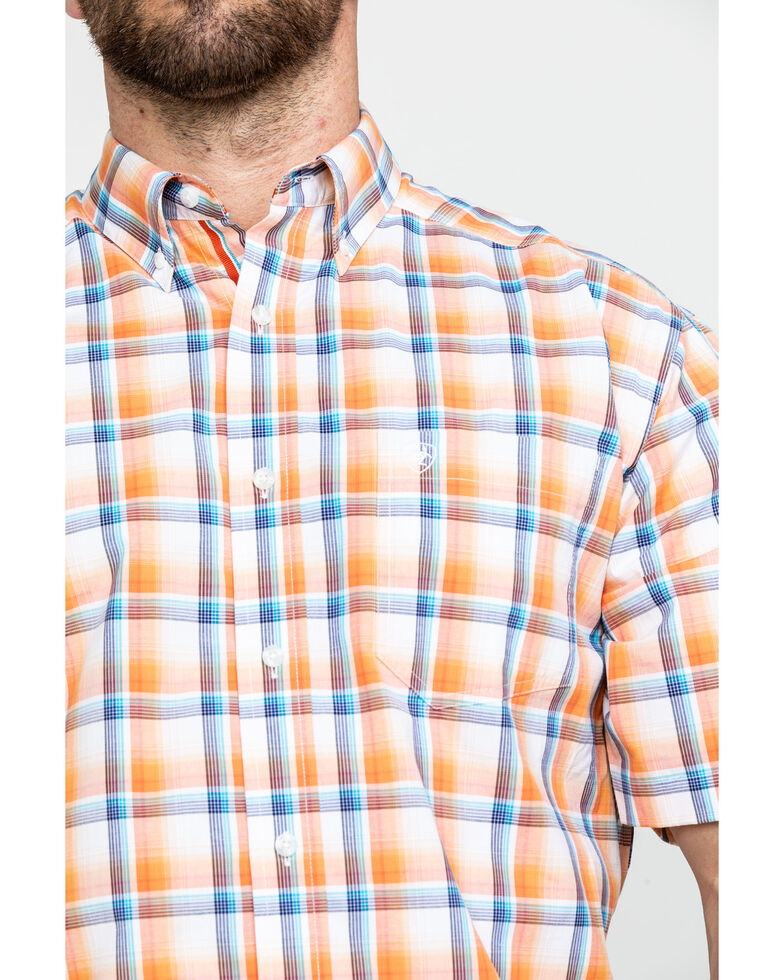 Ariat Men's Navajo Large Plaid Short Sleeve Western Shirt - Big & Tall , Orange, hi-res