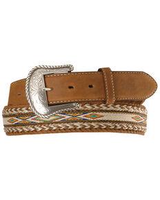 Tony Lama Horsehair Ribbon Leather Belt, Bark, hi-res