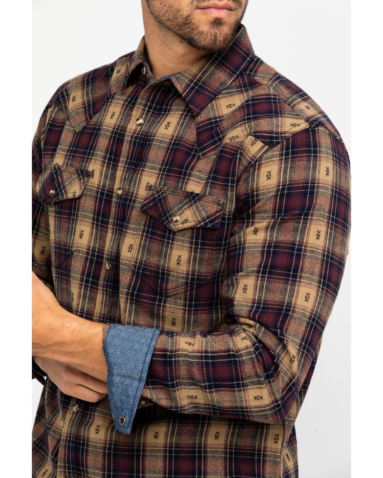 Moonshine Spirit Men's Tavern Dobby Plaid Long Sleeve Western Flannel Shirt , Brown, hi-res