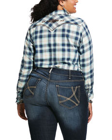 Ariat Women's Navy Plaid R.E.A.L. Snap Long Sleeve Western Shirt - Plus, Navy, hi-res