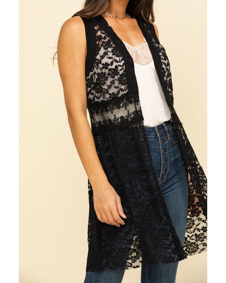 Vocal Women's Black Lace Vest, Black, hi-res