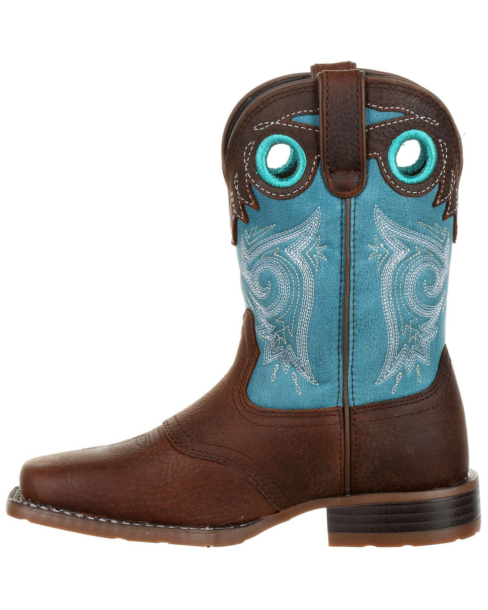 Durango Boys' Lil' Mustang Western Saddle Boots - Wide Square Toe, Brown, hi-res