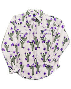 Cowgirl Hardware Girls' White Cactus Rose Snap Long Sleeve Shirt, White, hi-res