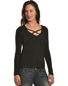 Shyanne Women's Cage Front Long Sleeve Knit Tee, Black, hi-res