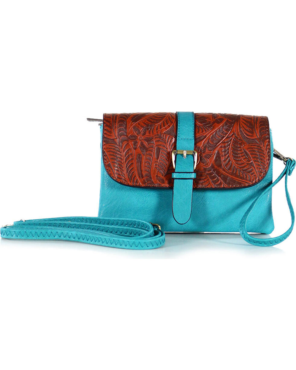 Tyler Rose Accessories Women's Floral Embossed Clutch , Turquoise, hi-res