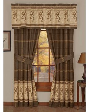 Browning Buckmark Rod Pocket Curtains, Brown, hi-res