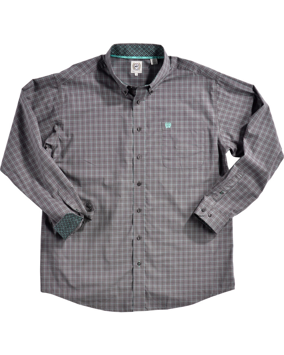 Cinch Men's Grey Plaid Print Long Sleeve Western Shirt , Grey, hi-res