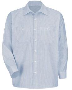 Red Kap Men's Industrial Striped Long Sleeve Work Shirt , Blue/white, hi-res