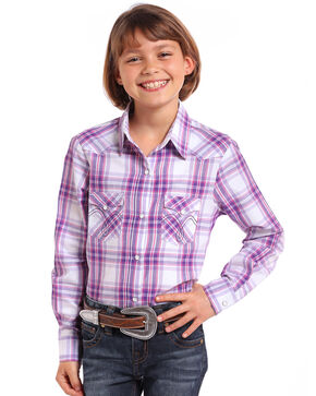 Panhandle Girls' Purple Ombre Plaid Long Sleeve Western Shirt , Purple, hi-res