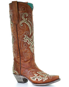 Corral Women's Brown Studded Overlay Western Boots - Snip Toe, Brown, hi-res