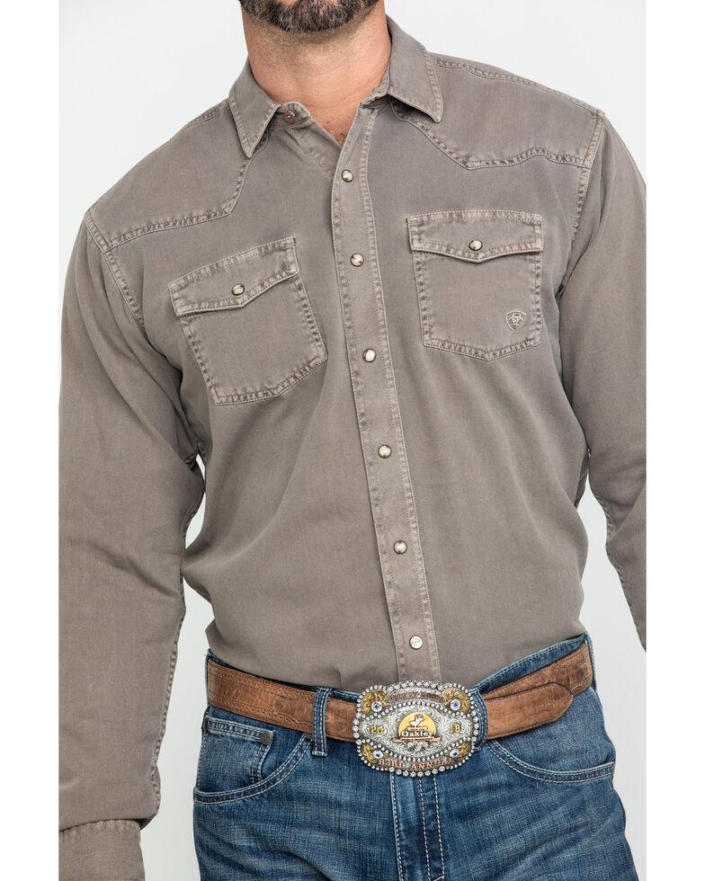 Ariat Men's Ash Bark Jurlington Retro Solid Long Sleeve Western Shirt , Tan, hi-res