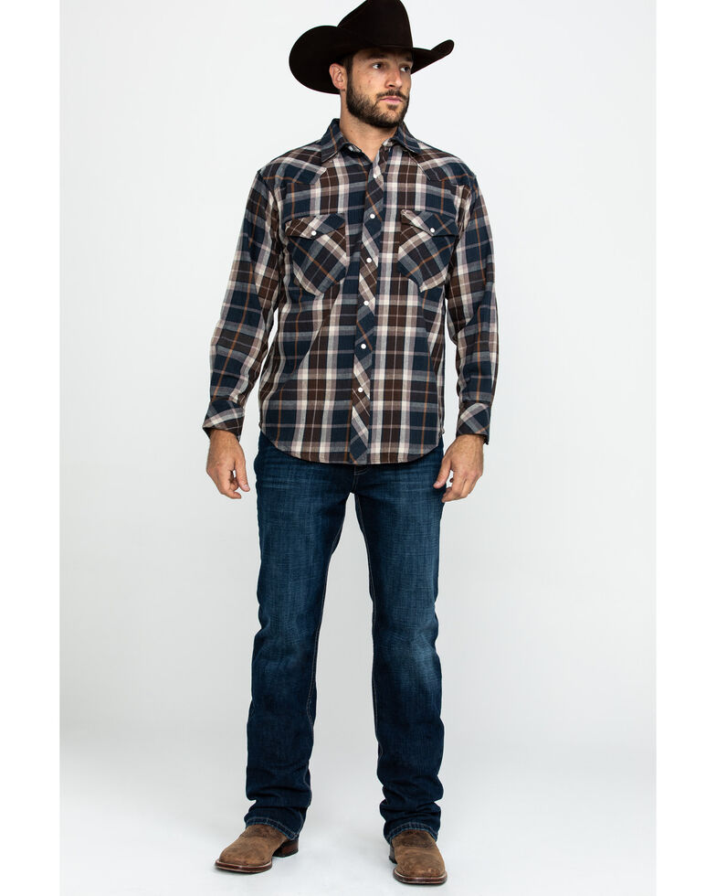 Resistol Men's Halbert Large Plaid Long Sleeve Western Shirt , Navy, hi-res