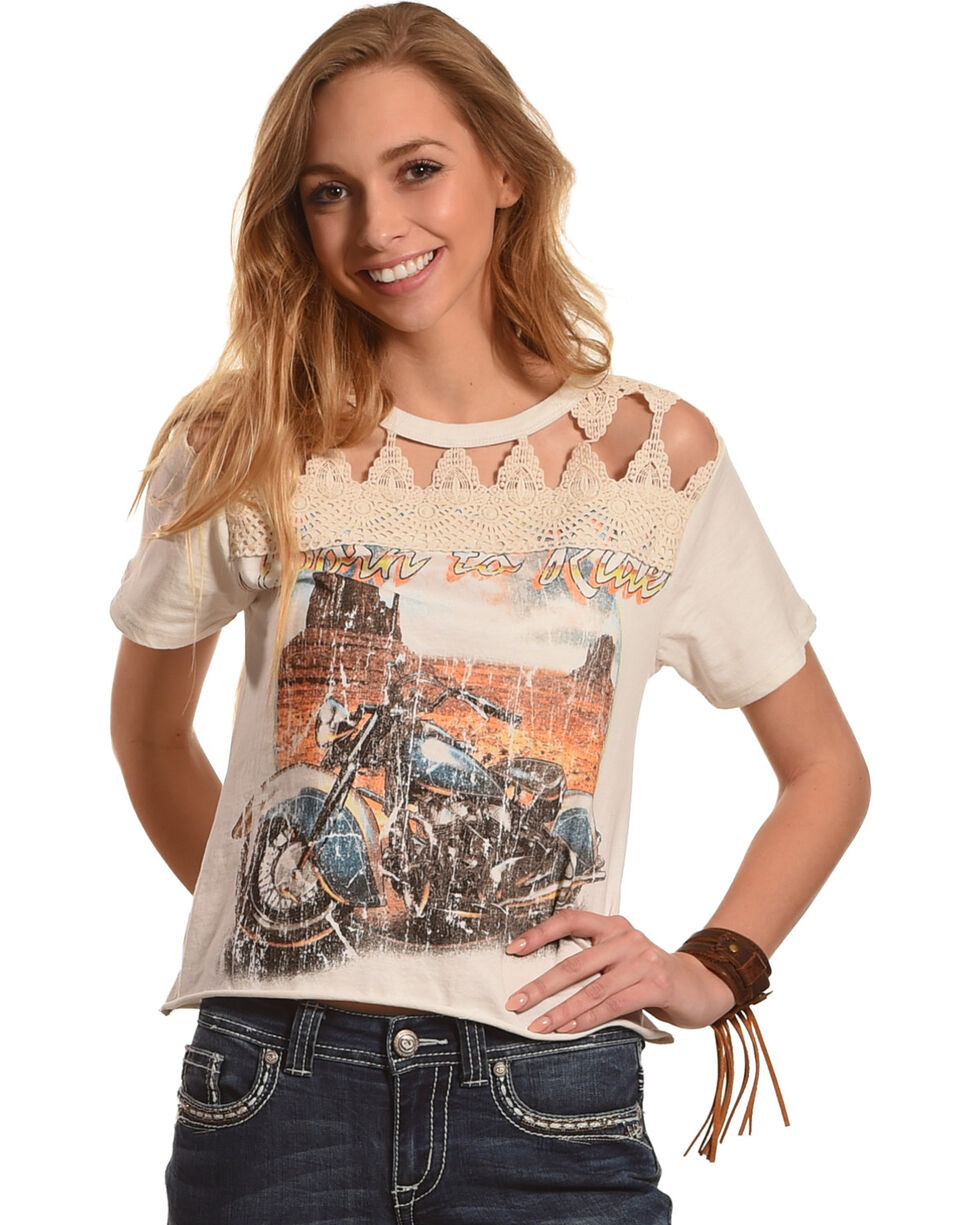 White Crow Women's Grey Motorcycle Lace Graphic Tee , Grey, hi-res