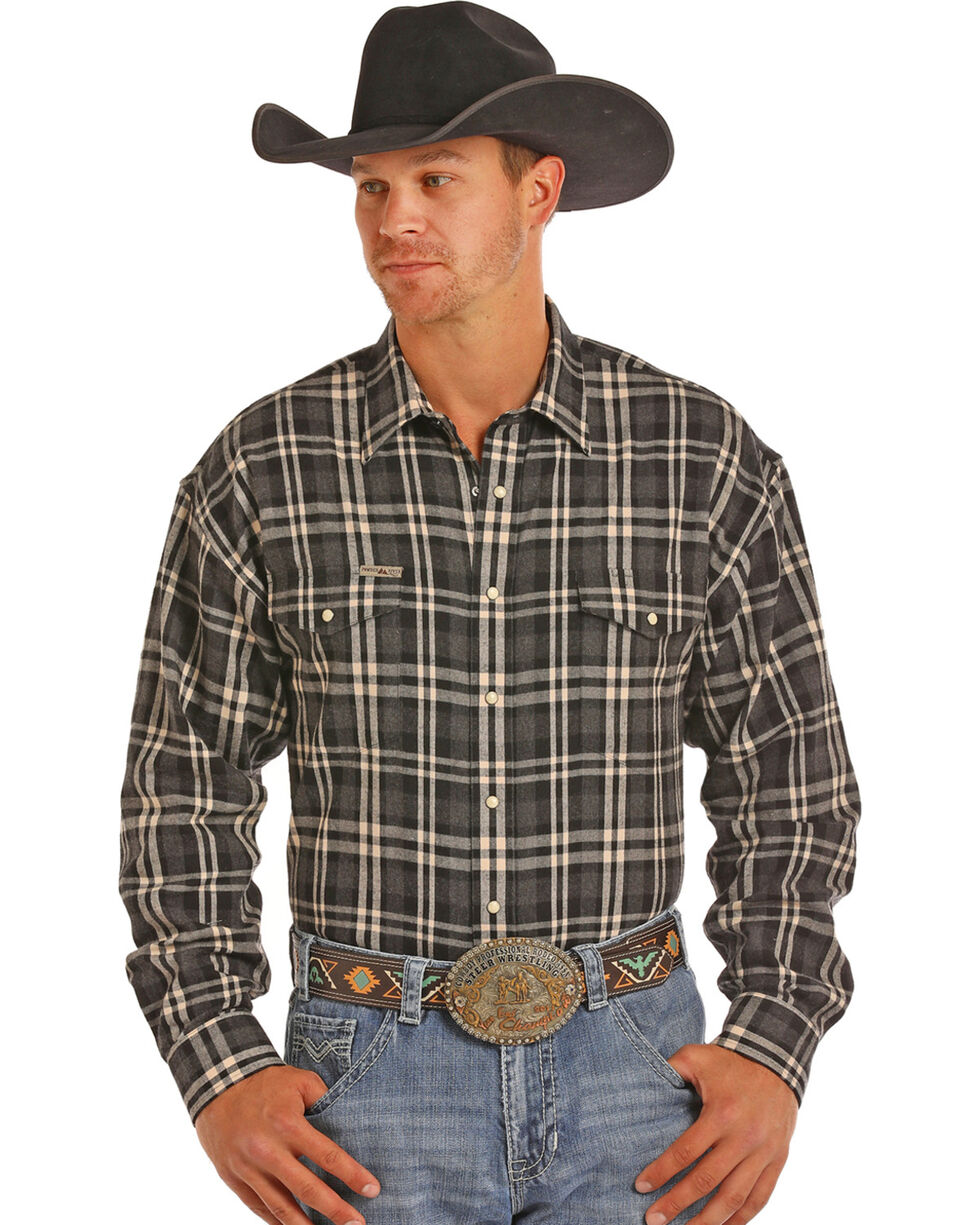 Powder River Men's Bandera Heather Brushed Twill Plaid Western Shirt, Charcoal, hi-res