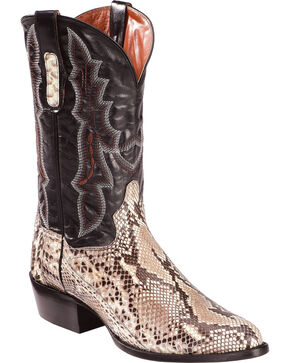 Dan Post Men's Natural Belly Cut Python Cowboy Boots - Round Toe, Natural, hi-res