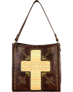 Montana West Spiritual Cross Vintage Print Handbag, Brown, hi-res
