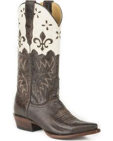 Stetson Women's Harper Crown Overlay Western Boots - Snip Toe, Brown, hi-res