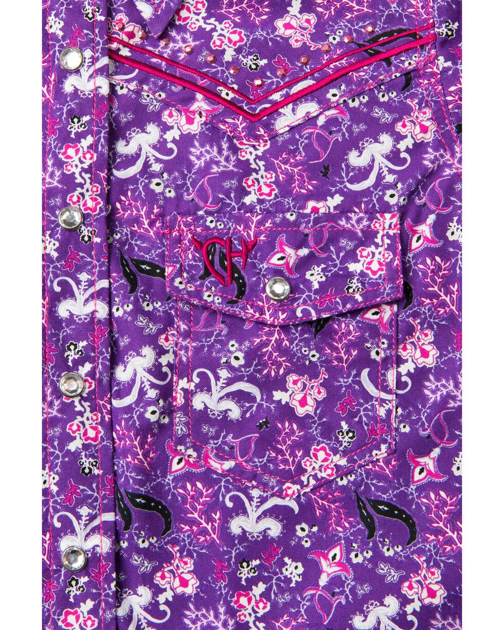Cowgirl Hardware Girls' Floral Print Long Sleeve Shirt , Purple, hi-res