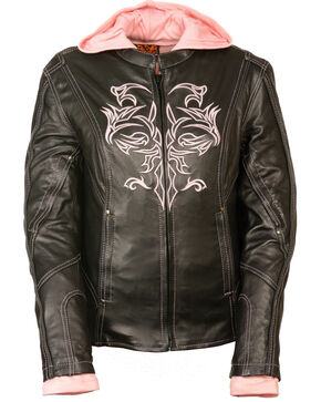 Milwaukee Leather Women's 3/4 Jacket With Reflective Tribal Detail - 3X, Pink/black, hi-res