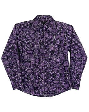 Cowgirl Hardware Toddler Girls' Peacock Long Sleeve Western Shirt, Purple, hi-res